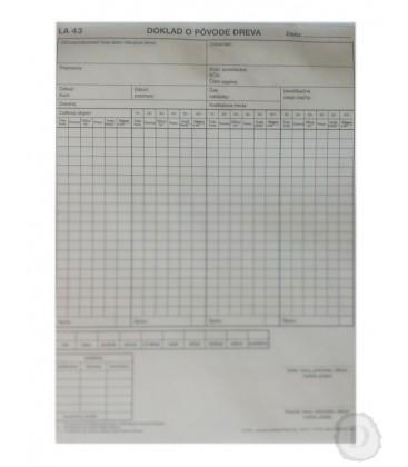 LA 43 Doklad opôvode dreva (4 stĺpcový )